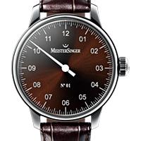 Prix du neuf et tarifs des montres Meistersinger n°01 cadran chocolat