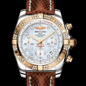 Breitling Chronomat 41 lunette or rose diamants