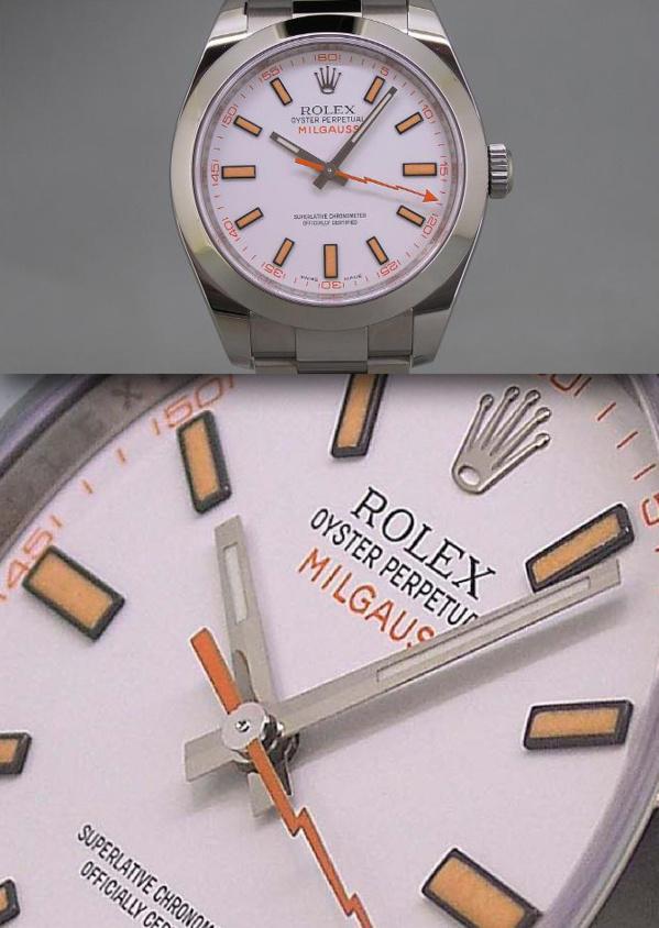 Modèle original Rolex Milgauss 116400 cadran blanc