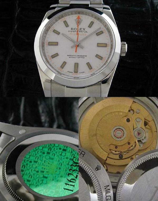Fake Rolex Milgauss 116400 cadran blanc - Contrefaçon