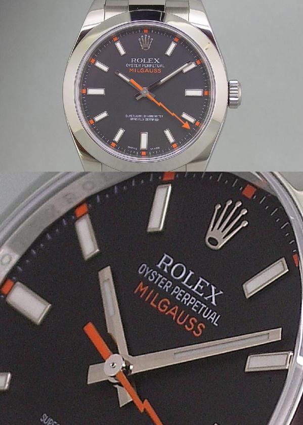 Modèle original Rolex Milgauss 116400 cadran noir