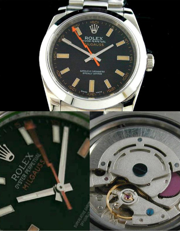 Fake Rolex Milgauss 116400 cadran noir - Contrefaçon