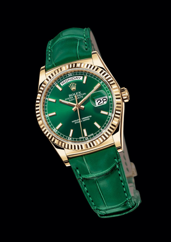 Rolex Day-Date Yellow gold (or jaune) fond et bracelet vert