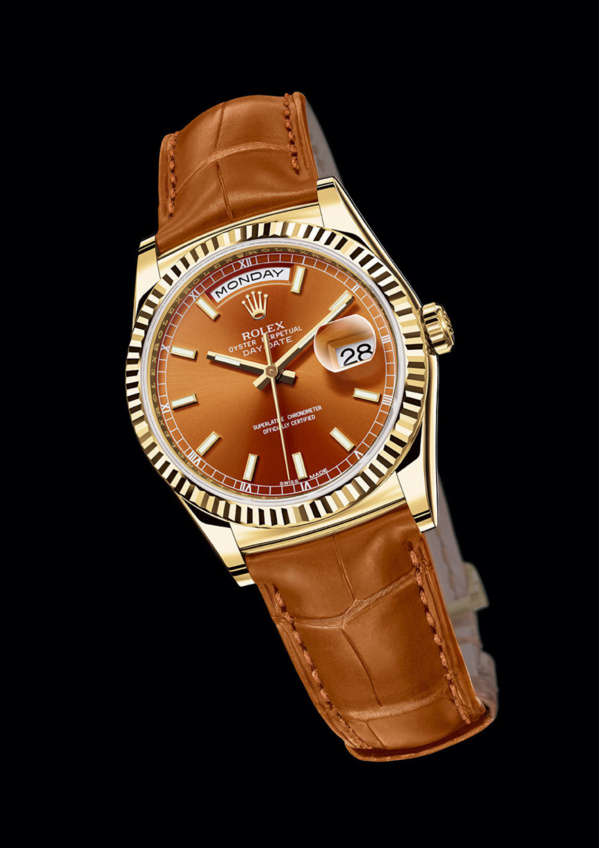Rolex Day-Date Yellow gold (or jaune) fond et bracelet cognac