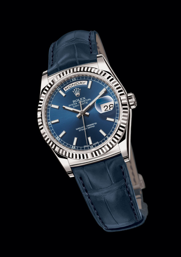 Rolex Day-Date White gold (or gris) fond et bracelet bleu