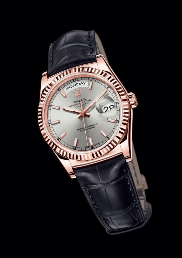 Rolex Day-Date Everose gold (EVEROSE) bracelet noir et cadran gris