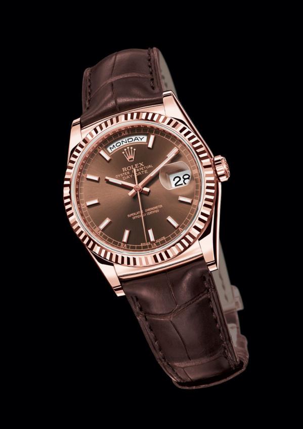 Rolex Day-Date Everose gold (EVEROSE) bracelet et cadran chocolat
