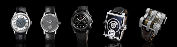 1. Julien Coudray timepiece - 2. Vacheron Constantin Patrimony Traditionnelle Small Seconds - 3. Omega Dark Side of The Moon - 4 Konstantin Chaykin Cinema Watch - 5. Vianney Halter