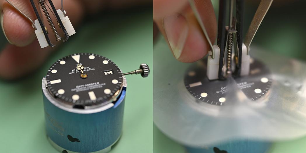 """Remplacement des aiguilles """"génériques"""" d'une GMT-Master 16750 par des aiguilles d'origine."""