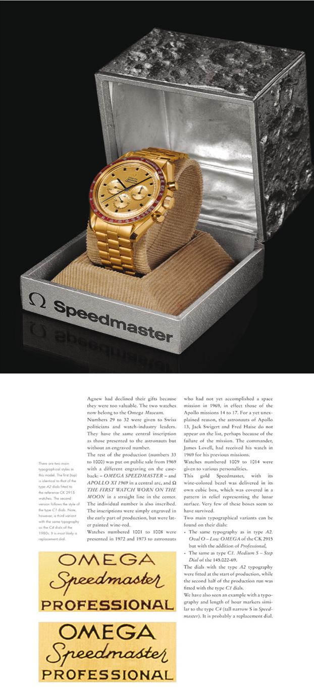 Rare Omega Speedmaster en or, lunette rouge et boîte en métal représentant le sol lunaire.