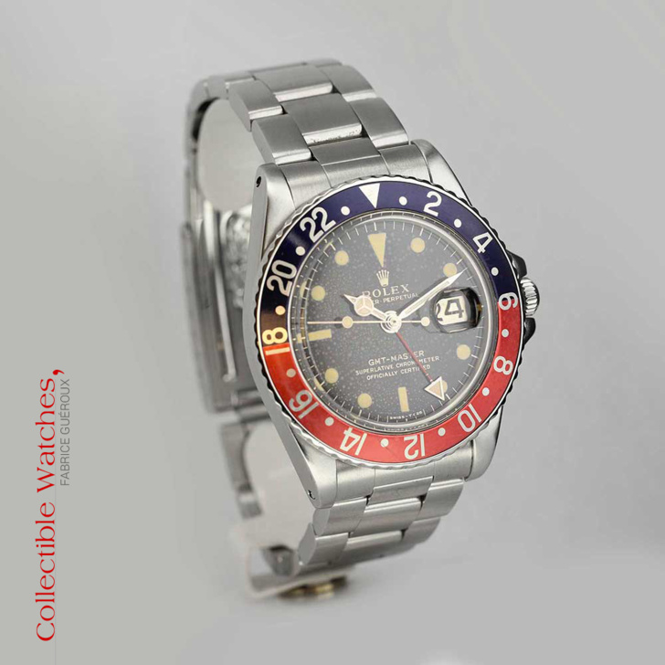 """Rolex GMT-Master référence 1675 lunette pepsi et cadran laqué """"Snow"""""""