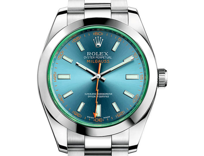 Prix du neuf Rolex 2015 Milgauss verre teinté cadran bleu