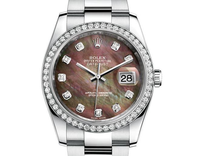 Prix du neuf Rolex 2015 Datejust (36mm) or gris / acier serti cadran nacre