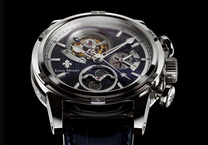 Le Chronographe à phase de lune régulé par un tourbillon : L'AstroMoon de Louis Moinet