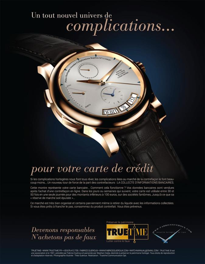Campagne anti-contrefaçon TrueTime - la presse Suisse en tête d'affiche