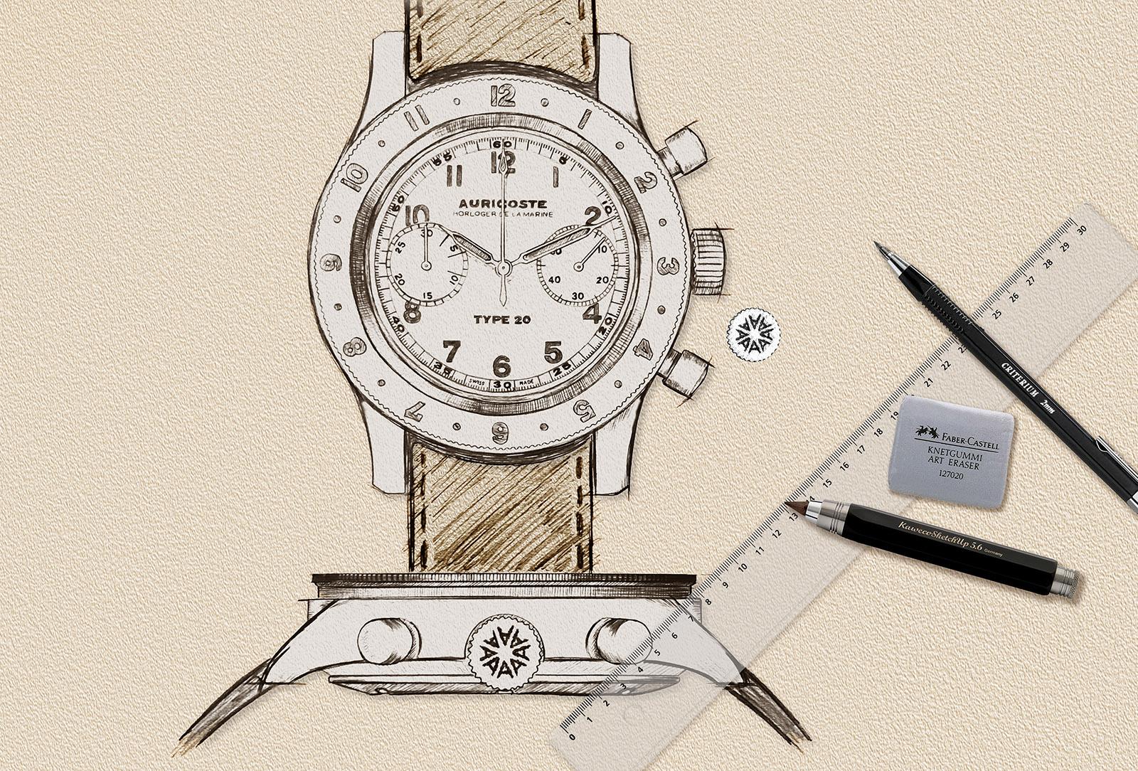 Premier croquis de la montre réalisé en 2019