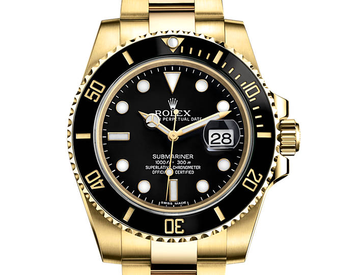 prix du neuf rolex 2015 submariner 116618 ln or jaune date. Black Bedroom Furniture Sets. Home Design Ideas