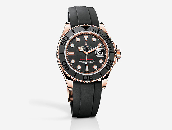 prix du neuf rolex 2015 yacht master everose oysterflex. Black Bedroom Furniture Sets. Home Design Ideas