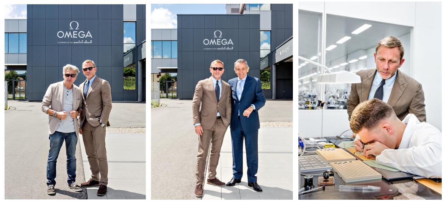 Daniel Craig en visite à la manufacture OMEGA de Villeret, en Suisse