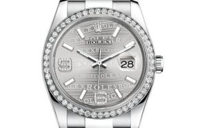 Prix du neuf Rolex 2015 Datejust (36mm) or gris / acier serti cadran logo