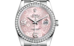 Prix du neuf Rolex 2015 Datejust (36mm) or gris / acier serti cadran rose